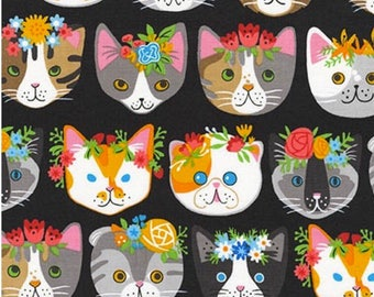 Cat Faces on BLACK background by Neiko Ng from Whiskers & Tails 100% cotton by Robert Kaufman
