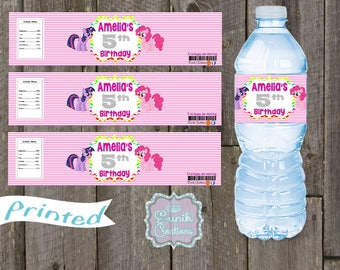 20 My Little Pony Water Bottle LabelsPersonalized Labels, Self-Adhesive, Printed Water Bottle Labels