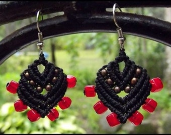 Macrame Earrings in Black with Brass Beads and Red Glass Beads - Hippie - Boho - Gyspy - Festival Clothing Fashion - Unique Handmade Macrame