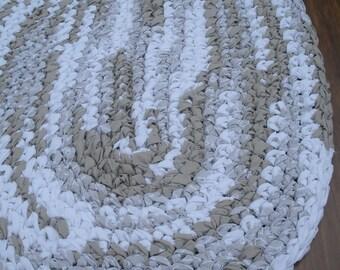 "38""x26"" Cream and Tan, Hand Crocheted Rug, Oval Rag Rug, Master Bedroom Rug, Braided Rug, Crochet Rug, Neutral Pastel Rug,Cream Kitchen Rug"