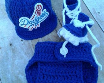 L.A. Dodger inspired Baby Crochet baseball hat set photography props