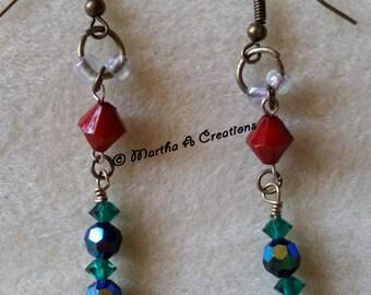 Brass Red, Green, & Black Pierced Earrings