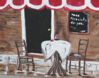 Contemporary, abstract, original CAFE acrylic painting on canvas by L. Crosswait,red, black, whites