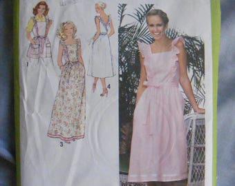 "1970's Back Wrap Dress / Apron Vintage Simplicity Sewing Pattern 8975 Size 16 Bust 38"""
