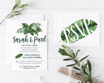 Wedding/ Party Invitations - Tropical Palm Leaf Design x 40