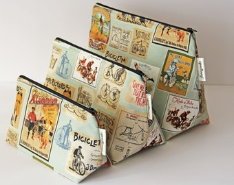 Vintage Style Cycling Posters Makeup and Wash Bag. Great Gift for Cyclists.