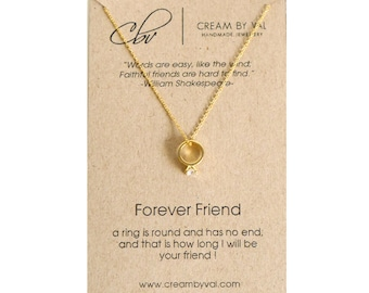 Forever Friend Necklace - Friendship Ring Necklace Friendship Necklace 14K Gold Fill Bestie Necklace Christmas Gift For Best Friend Necklace