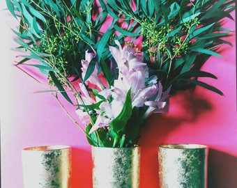 Recycled gold gilded vases