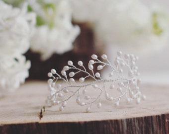 Bridal cuff, bridal bracelet, wedding jewelry, freshwater pearl, bridal jewellery, wide bracelet, pearl cuff, sterling silver, vine