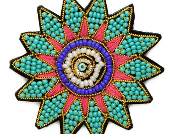 "Stitch-on Beaded Applique Patch by pc, 2-1/4""D, Multicolor, OSB-30479"
