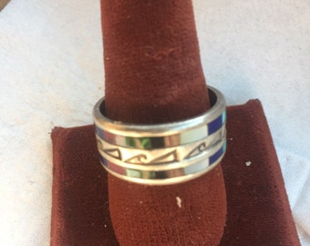 Vintage Native American Sterling Silver & 9 Different Semi Precious Men's Ring Inlaid and Engraved