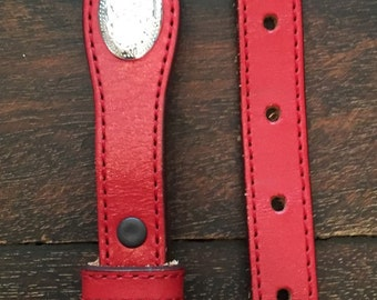 Kids Silver Creek Classics red Leather Western Belt with silver buckle and Conchos / kids size 2-6 / can be used as XL dog collar