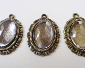 3 - Bronze Oval Cabochon Settings w/Glass