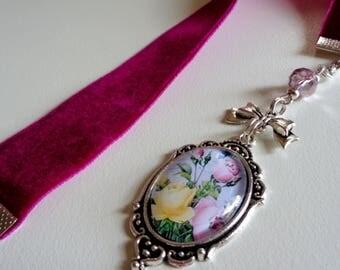 Aubergine Velvet Ribbon Bookmark w/ Rose Cabochon