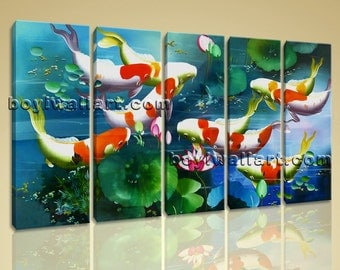 Large Koi Fish Pond Feng Shui Contemporary Canvas Print Wall Art Dining 5 Panels