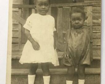 Two little dumplings! Sweet sisters  Antique Photograph, RPPC African American -Black Americana