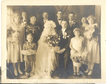 Antique  Photograph of Identified Bride and Groom Wedding