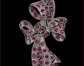 Eisenberg Ice Silver Tone with Pink Rhinestones Bow Pink Ribbon Pin  (Inventory #J899)
