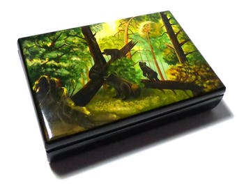 1950's Vintage Russian Hand Painted Lacquer Box Fedoskino Morning in a Pine Forest Signed