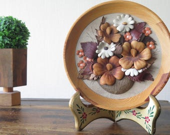 Retro Wall Hanging Decor Wood Frame Genuine Leather Flowers Round Vintage Handmade Wall Plaque 3D Leather Art Scandinavian Floral Decor @207