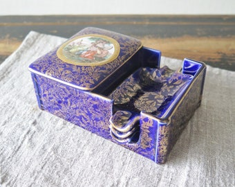 EMPIRE England WARE Cobalt Blue Gold Cigarette Match Holder Dish and 3 Ashtrays @210