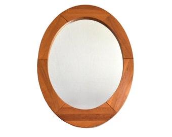Mid Century Teak Oval Wall Mirror by Pedersen & Hansen - Made in Denmark
