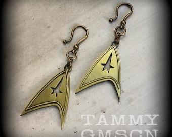 Star Trek Earrings Star Trek Ear Weights Star Trek Insignia Antique Bronze Ear Weights 0g 00g 2g 4g 6g