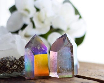 Electric Sunset Aura Quartz Crystal Tower