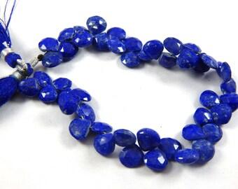 on shp sale !!! 17.95 gram Lapis Briolettes, faceted Lapis Lazuli Briolettes Lapis Pear Briolettes, hapis hert shape beads 8'' size 8-9mm