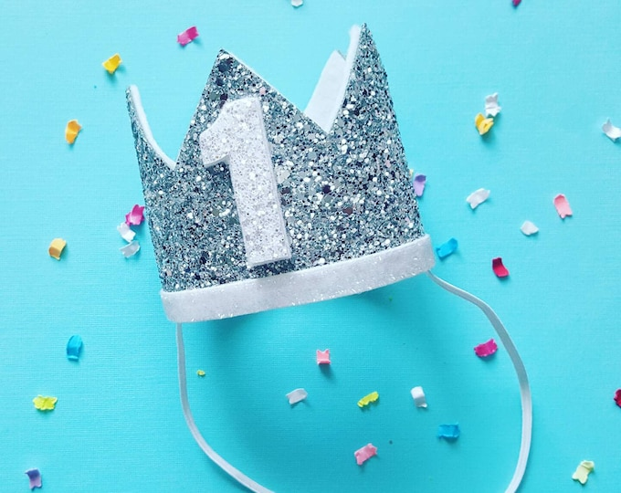 Birthday Crown || White and Silver Birthday || Silver Crown || Birthday Girl || First Birthday || Baby Crown || Birthday