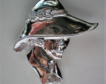 Silver tone Lady Portrait Pin by Torino - 5351