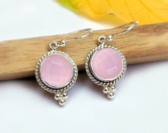 Pink Quartz Earring Rose Quartz Earring 925 Sterling Silver Dangle Earring Gemstone Earrings Checker cut round rose quartz Mothers Day Gifts