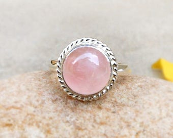 Natural Rose Quartz Ring Pink Stone Round Cab 925 Solid Silver Ring Gemstone Jewelry Christmas Gifts Stacking Ring Size 4 5 6 7 8 9 10 11