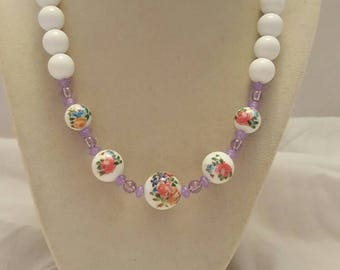 White and Purple Flower Necklace Purple and White Flower Necklace Flower Necklace Wedding Necklace Bridesmaid Necklace Bridesmaid Gift