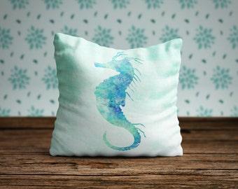 Seahorse Pillow Case, Seahorse Pillow Cover, Watercolor Seahorse, Beach House Decor, Nautical Home Decor, Coastal Decor, Seahorse Cushion