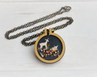 Deer in the Forest Embroidered Hoop Necklace