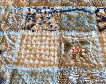 Pretty Pastel Vintage Chenille Baby Rag Quilt