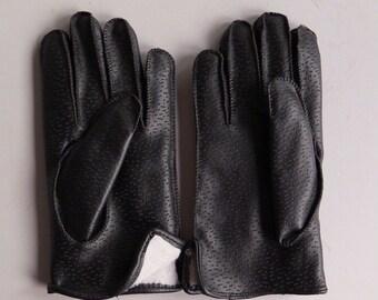 Large Fleece Lined Gents Black Leather Gloves