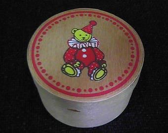 Vintage 1984 Schmid Wooden Trinket Box, Teddy Bear Clown Box, Schmid Wooden Box, Collectible Schmid Box