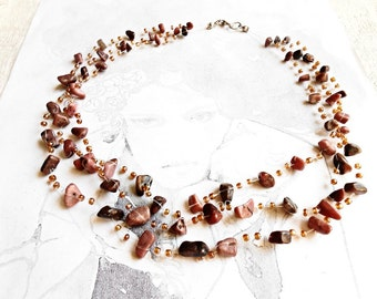 Raw Rhodonite Crochet Pink Gemstone Multistrand Statement Air Necklace Glass Seed Beads Floating Invisible Cut Rough Healing Crystal Stone