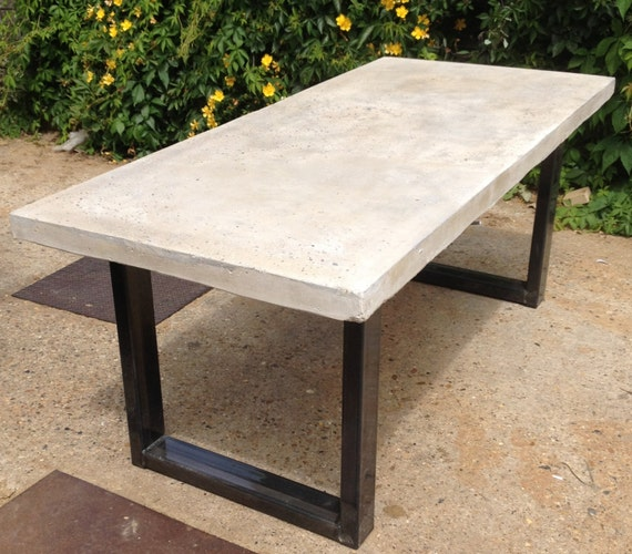 Polished Chunky Concrete Dining Table with Industrial by  : il570xN1147155387b9hx from www.etsy.com size 570 x 500 jpeg 84kB