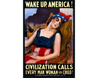 Wake Up America Poster Liberty Sleeping Patriotic James Montgomery Flagg Art Print 309