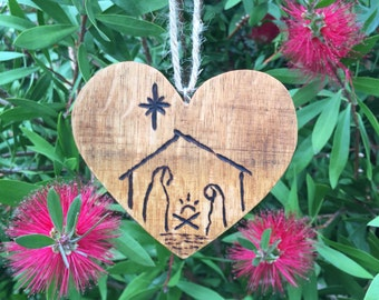 Nativity Scene Wood Heart Ornament From Recycled Wine Barrel