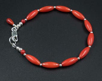 Red coral bracelet red bamboo coral sterling silver handmade semiprecious stone small bead stackable  bracelet red bracelet