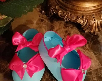 Girl Shoe Favors / Birthday Party Favors / Turquoise And Hot Pink Baby Shower Favors / Set Of Ten Turquoise And Hot Pink Shoe Favors