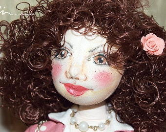 OOAK the girl from our school art cloth doll / vintage style