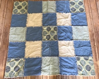 Blue and White flannel Rag Blanket