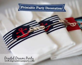 Nautical Water Bottle Labels Napkin Rings Wraps Party Decorations Printable ddp0001