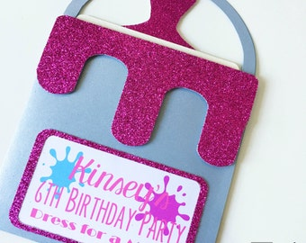Paint Party Invitation - Paint Bucket Invitation - Paint Brush Invitation - Birthday - Pull-out Card - Custom Order Available - 10/pack