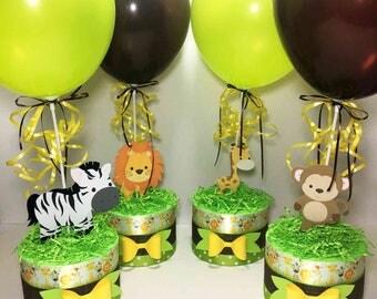 Safari Baby Shower Centerpieces, Jungle Baby Shower Centerpieces, Gender Neutral Baby Shower Decorations